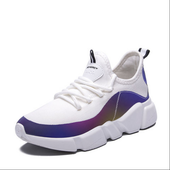Breathable Knitted Fabric Athletic Shoes Women Lace Up Sneakers