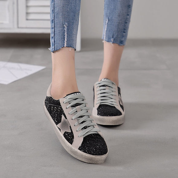 Flat Heel Sparkling Glitter All Season Sneakers
