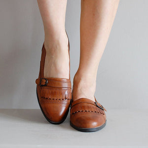 Summer Low Heel Loafers Slip On Vintage Laofers