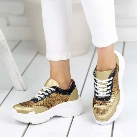 Plus Size Platform Trainers Shiny Sequins Lace Up Athletic Sneakers