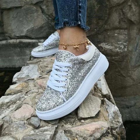 Glitter Lace Up Casual All Season Sneakers