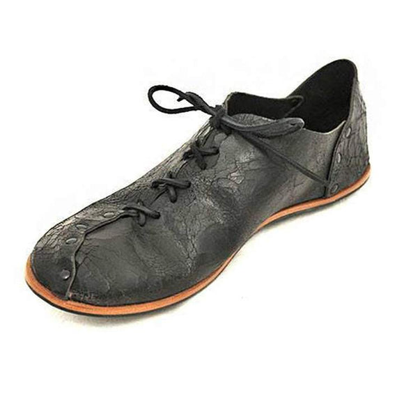 Men's Lace-up Grainy Soft Leather Flats
