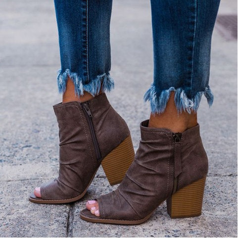 Chunky Heel Peep Toe Heels Double Zipper Booties