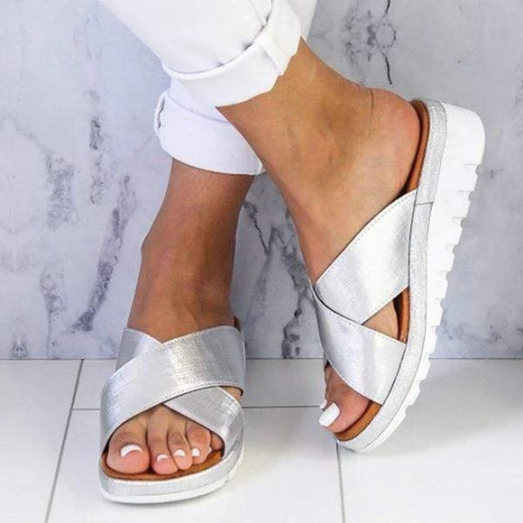 Comfy Summer Plain Peep Toe Casual Slippers