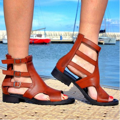 Peep Toe Women Buckle Casual Low Heel Pu Sandals