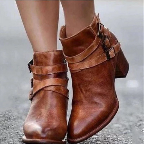 Women Pu Point Toe Buckle High Chunky Ankle Boots
