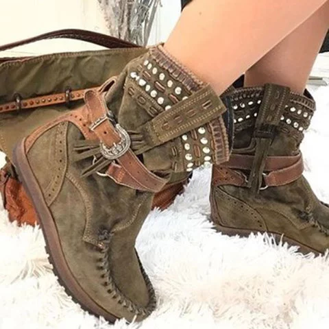 Round Toe Slide Retro Tassel Artificial Suede Winter Ankle Boots