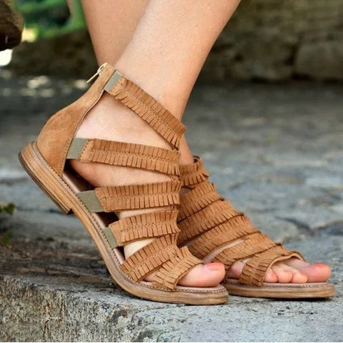 Flat Heel Summer Zipper Gladiator Sandals Open Toe Casual Sandals