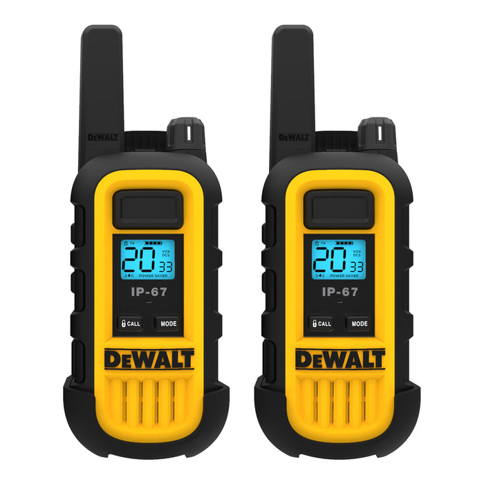 DEWALT DXFRS300 1W Dustproof Waterproof Shock Resistant Long Range FRS Two-Way Radio/Walkie Talkie, 20-Pack