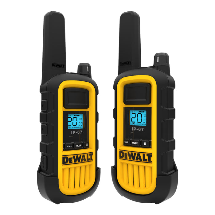 DEWALT DXFRS800 2W Dustproof Waterproof Shock Resistant Long Range FRS Two-Way Radio/Walkie Talkie, 20-Pack