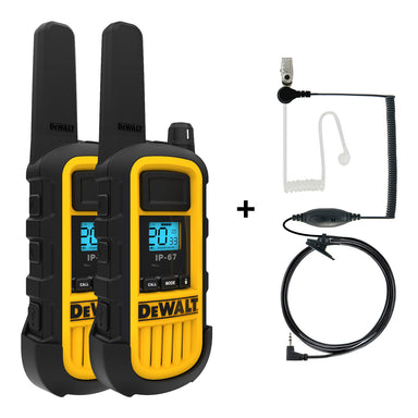 DEWALT DXFRS800-SV1 2W Dustproof Waterproof Shock Resistant Long Range FRS Two-Way Radio/Walkie Talkie + Headset Bundle