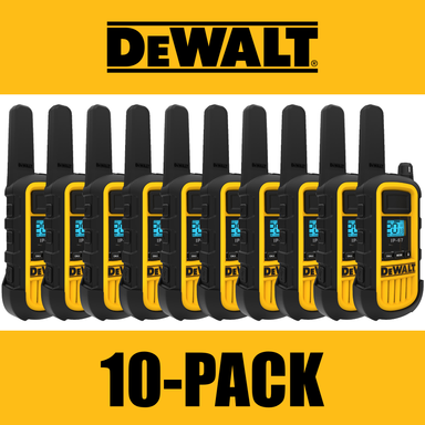 DEWALT DXFRS800 2W Dustproof Waterproof Shock Resistant Long Range FRS Two-Way Radio/Walkie Talkie, 10-Pack