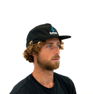 Surfer in Surflogic Hardware Flat Bill Unstructured Surf Cap Australia New Zealand