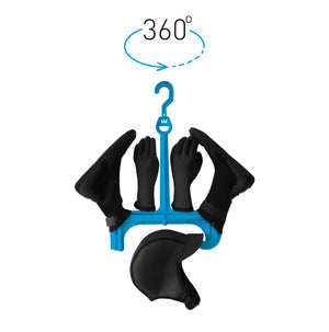 Surflogic Wetsuit Accessory Hanger Double System Fully Loaded with Wetsuit Acessories Hood, Booties, and Gloves with the 360 Degree Rotating Hook Option