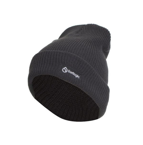 Surflogic Graphite Grey Double Layer Knit 100% Acrylic Beenie One Size