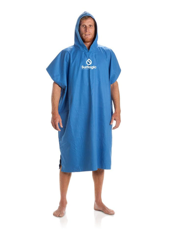 Surflogic Hooded Towel Blue Microfiber Surf Poncho Worn by a Surfer