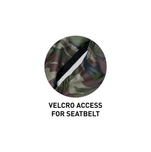 Surflogic Camo Waterproof Double Seat Car Cover Velcro Access for Seatbelts