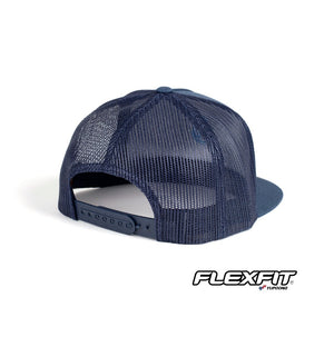 Surflogic Navy Blue Flexifit Snapback Flat Brim Baseball Hat Mesh and Snapback Detail Photo with Flexfit Logo