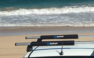 "Surflogic Round Car Roof Rack Pads 50cm / 20"" on Isuzu D-Max Truck at an Australian Beach"