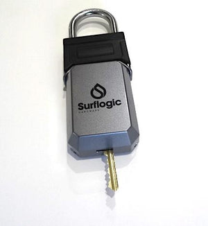 Surflogic Standard Car Key Padlock Box Demonstrating Ability to Store Long Keys Through Key Slot on Bottom of Front Cover