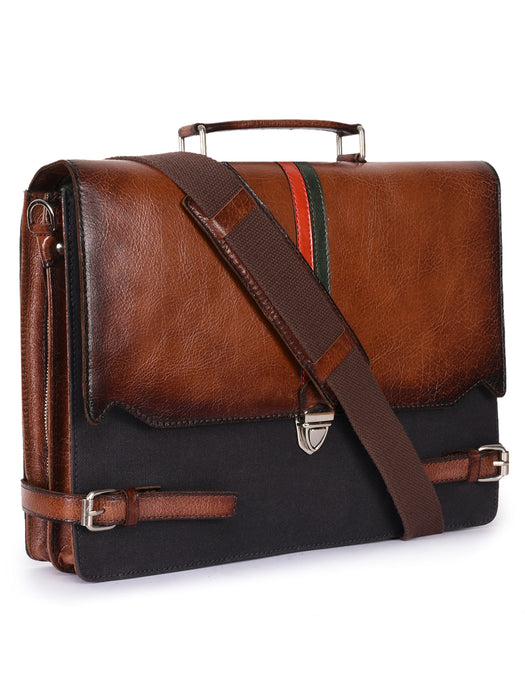 Phive Rivers Men's Leather and Canvas Charcoal and Tan Laptop Bag-Men - Bags - Crossbody-Gifts and Gadgets