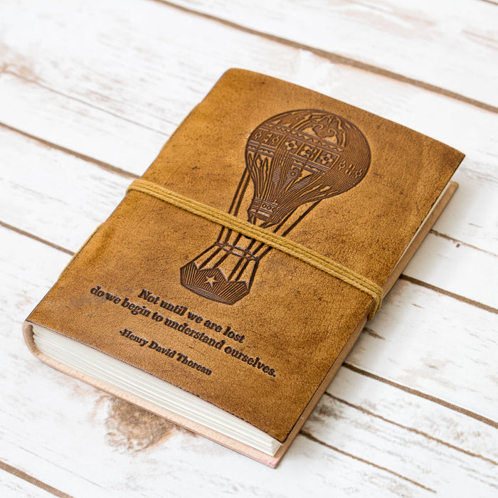 """Until We Are Lost"" Handmade Blonde Leather Journal-Home - Journals/Notebooks-Gifts and Gadgets"