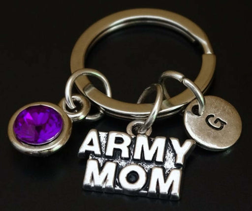 Army Mom Charm Keychain Personalized Gift Keyring Silver Plated-Keychains-Gifts and Gadgets