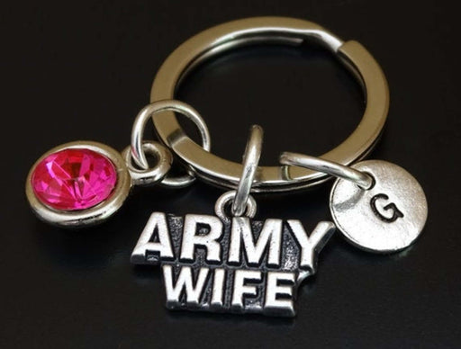 Silver Army Wife Charm Keychain Personalized Gift-Keychains-Gifts and Gadgets