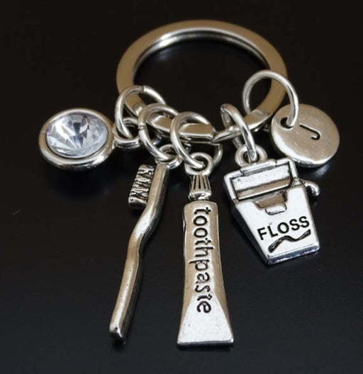 Silver Plated Dentist Charm Keychain Personalized Gift-Keychains-Gifts and Gadgets