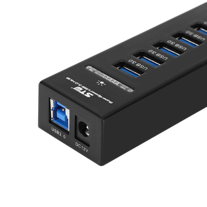7-Port USB3.0 HUB with 2 IQ Charging Ports-Accessories-Gifts and Gadgets