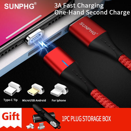 SUNPHG Mobile Phone 3A Magnetic Cable Charger 2m Micro USB Fast Charging Type C Data Cable for iPhone Lightning xs xr Samsung S9-Gifts-Gifts and Gadgets
