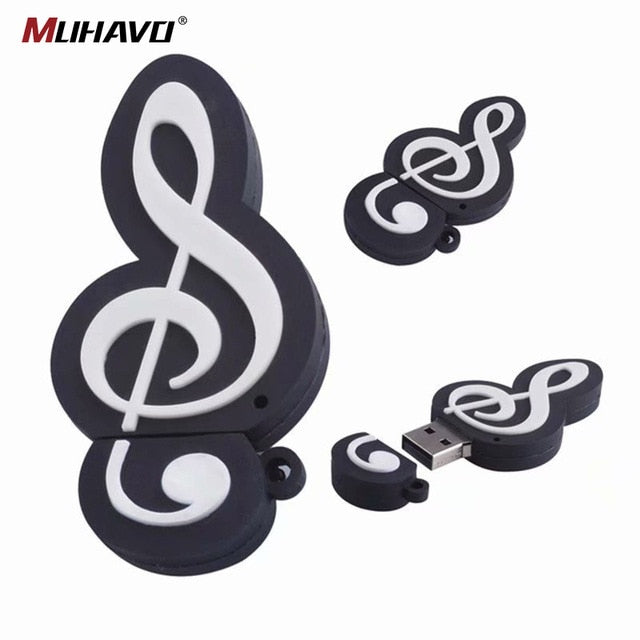 Music note usb flash drive musical instrument pen drive 128gb 64gb 32gb usb flash cartoon memory stick U disk gift pendrive 16gb-Gifts and Gadgets