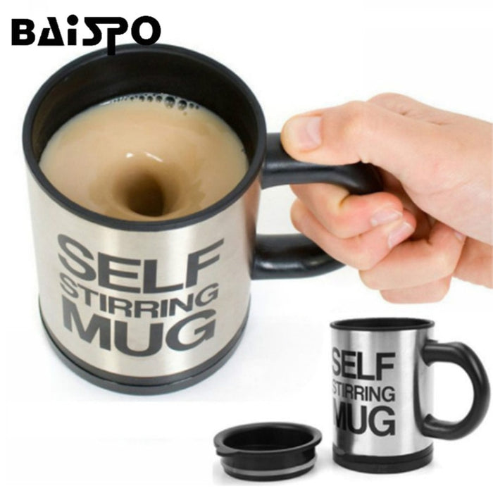 BAISPO 400Ml Mug Automatic Electric Lazy Self Stirring Mug Automatic Coffee Milk Mixing Mug Tea Smart Stainless Steel Mix cup-Gifts and Gadgets