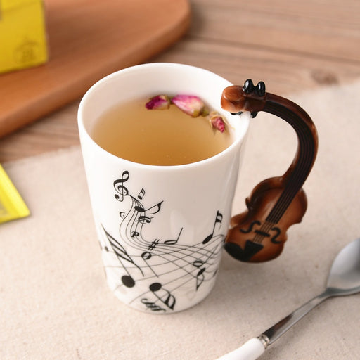 Creative Music Violin Style Guitar Ceramic Mug Coffee Tea Milk Stave Cups with Handle Coffee Mug Novelty Gifts-Gifts and Gadgets