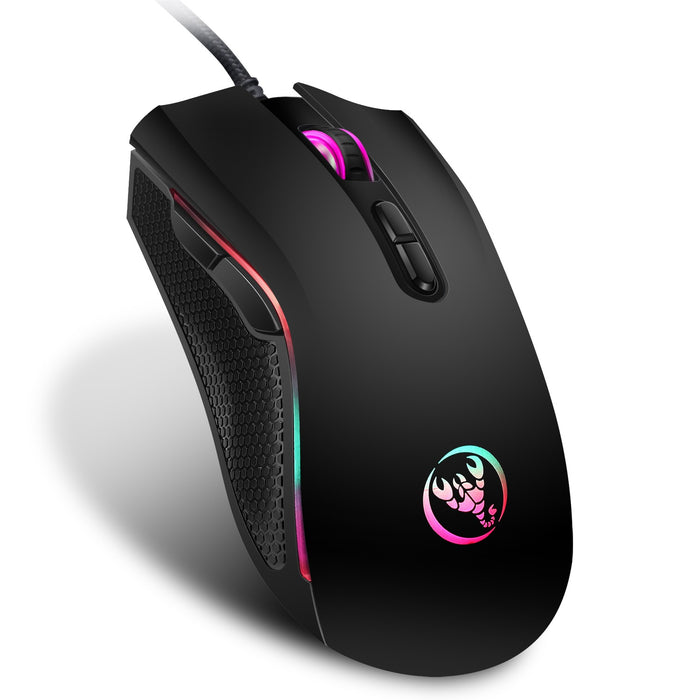 Hongsund brand High-end optical professional gaming mouse with 7 bright colors LED backlit and ergonomics design For LOL CS-Gifts-Gifts and Gadgets
