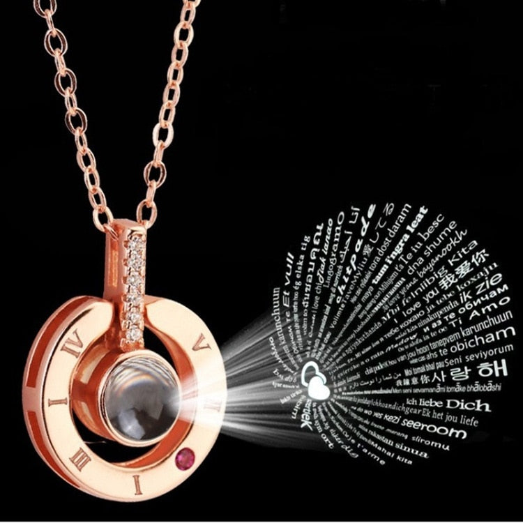2019 NEW Rose Gold & Silver 100 languages I love you Projection Pendant Necklace Romantic Love Memory Wedding Necklace-Gifts and Gadgets