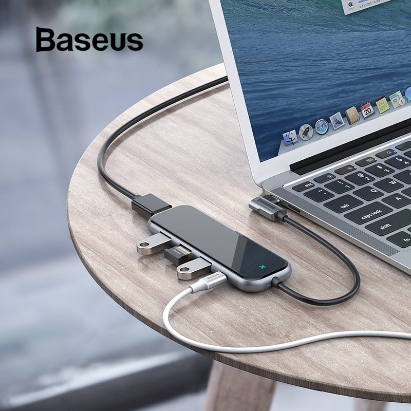 Baseus Multi USB Type C HUB for Macbook Pro Type-C to 3 USB 3.0 HDMI for Huawei P30 Mate20 Pro USB-C Mobile Phone-Gifts and Gadgets