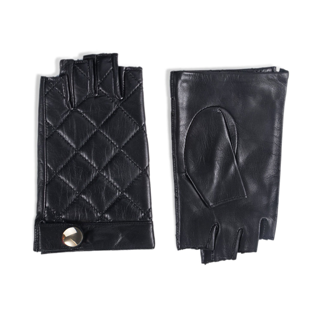 YISEVEN Women's Fingerless Lambskin Smooth Leather Gloves