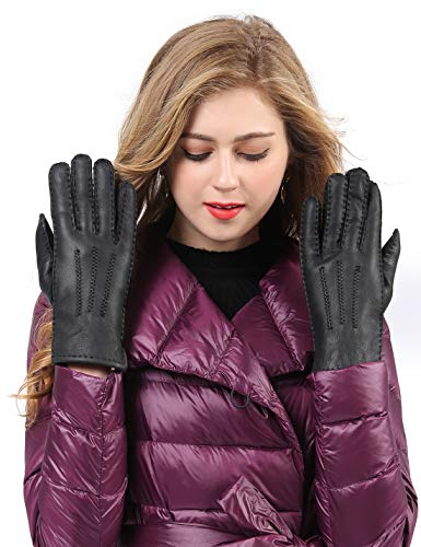 YISEVEN Womens Winter Sheepskin Leather Shearling Gloves Driving Fur Lined