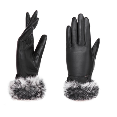 YISEVEN Women's Touchscreen Lambskin Leather Gloves Fur