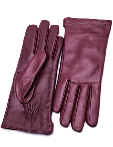 Women's Touchscreen Lambskin Dress Leather Gloves Flat Design