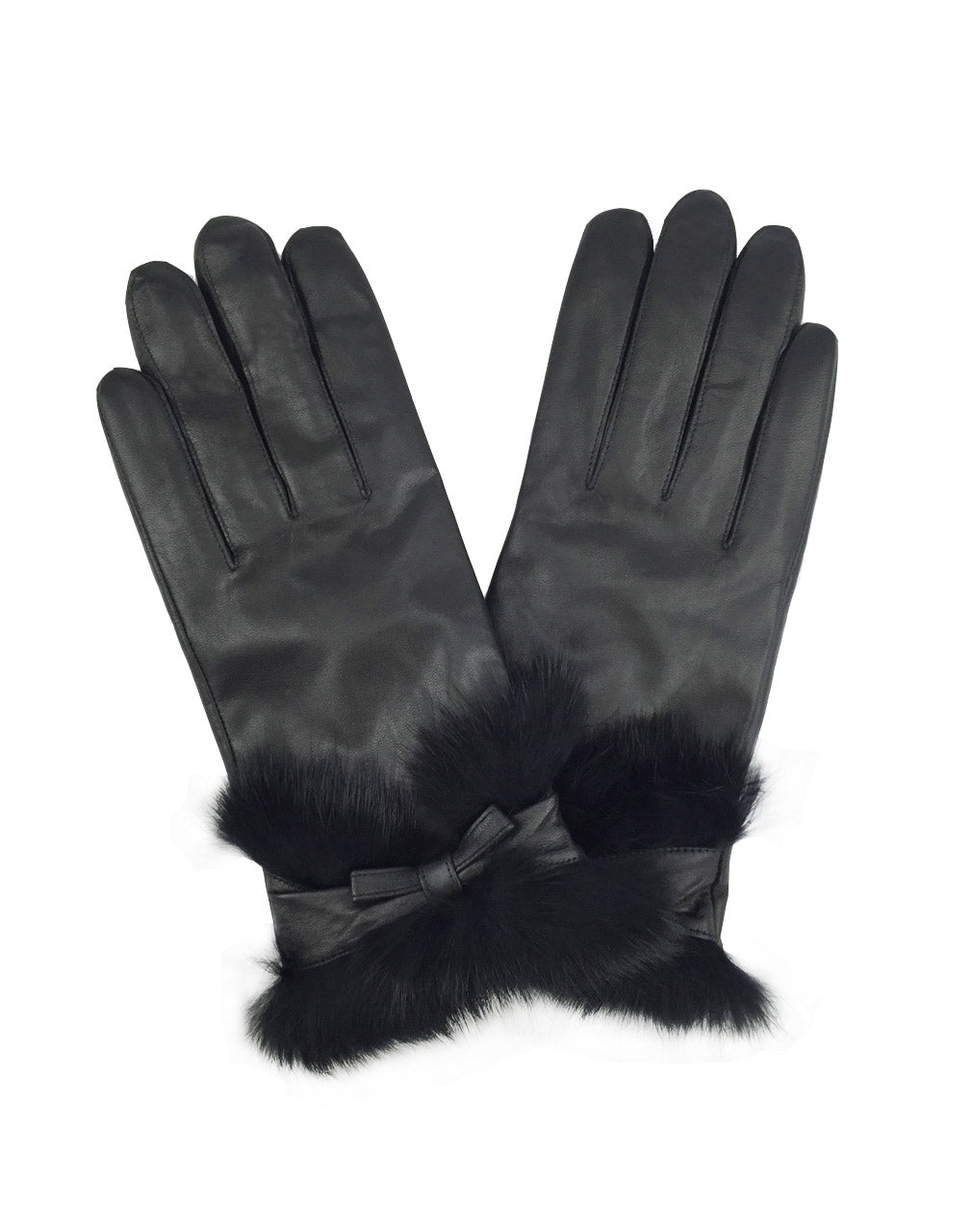YISEVEN Women's Elegant Lambskin Leather Gloves Rabbit Fur