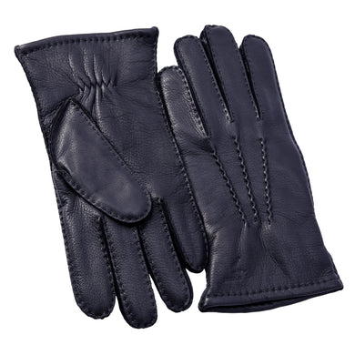 Men's Cashmere Lined Deerskin Leather Gloves Handsewn with Classical Three Point