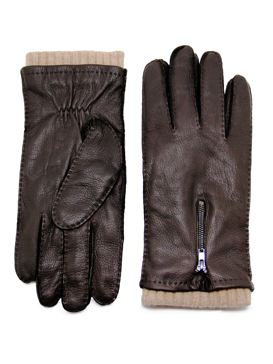 YISEVEN Men's Wool Lined Deerskin Leather Gloves Handsewn