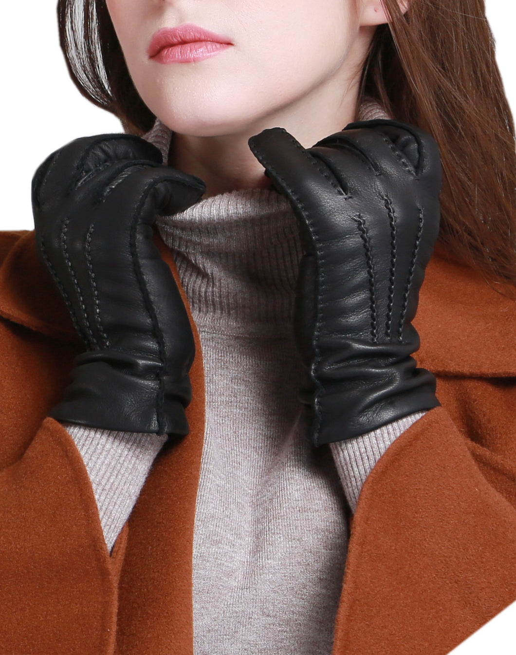 Women's Cashmere Lined Deerskin Leather Gloves Handsewn