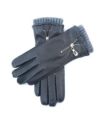 YISEVEN Women Cashmere Lined Deerskin Leather Gloves Hand Sewn Long Cuffs
