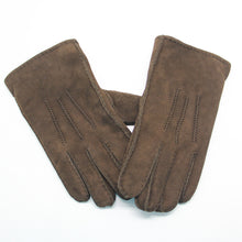 Load image into Gallery viewer, YISEVEN Men's Merino Rugged Lambskin Shearling Leather Gloves Three Points