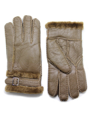 YISEVEN Men's Winter Shearling Sheepskin Gloves with Adjustable Buckle