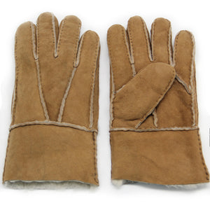 YISEVEN Men's Winter Sheepskin Mittens Shearling Leather Gloves Two Points