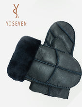 Load image into Gallery viewer, YISEVEN Men's Winter Warm Sheepskin Shearling Leather Mittens Gloves